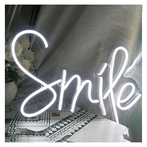 Gn shop Letrero de neón LED Personalizado Letra Smife Light, Letrero de neón Regulable for Pared for Dormitorio, Boda, Fiesta, telón de Fondo, decoración del hogar (Size : 50x30cm)