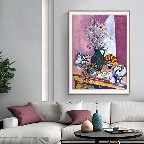 IGZAKER Vintage Stilleven Plaat Bloem Canvas Schilderijen Master Poster Prints Houten Frame Wall Art Pictures Keuken Home Decor-50x70cm geen frame