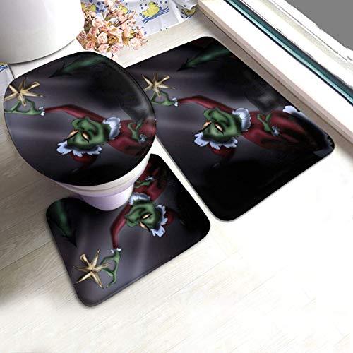 XiaLianNai-shop The Grinch Christmas Bath Mat 3 Piece Set Soft Absorbent Anti-Slip Pads and Carpet Bath Mat Set, Bath Anti-Skid Pads + Toilet Lid Cover + Contour Pads Bathroom Carpet Sets