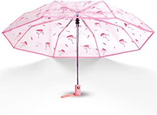 WerFamily Full Automatic Umbrella Folding Transparent Clear Auto Open Travel Pink Flamingos