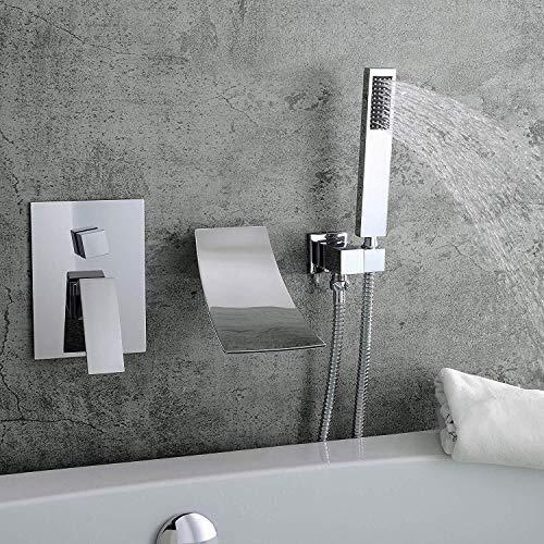 FYYONG Moderna oculta ducha baño lavabo grifo de la cascada 2 Función Dentro de la pared de la bañera de ducha Conjunto de ducha de mano Sistema Hermosa práctica (Color : Chrome)