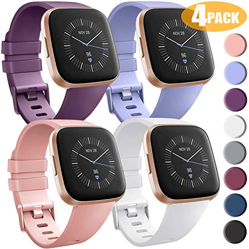 [4 Pack] Bands Compatible with Fitbit Versa 2, Fitbit Versa, Versa Lite/SE, Assorted Soft Silicone Patterned Wristbands Accessories for Women/Men, Small/Large (Small, Purple/Lavender/White/Peach)