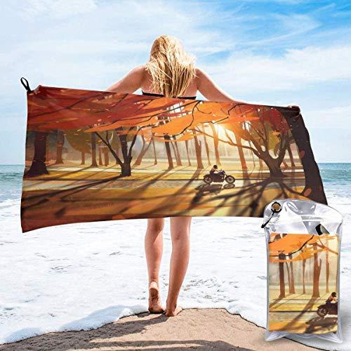 Toalla de Playa 27.5 'X 55',Fox Ultra Soft Sand Microfibra Portátil Absorbente de Agua Microfibra múltiple Toalla de Playa sin Arena Manta-Autumn Trees Art