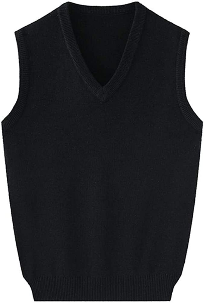 Men's V-Neck Sleeveless Vest Sweater Gilet Knitwear Cardigans Knitted Waistcoat Pullover Winter Tank Top