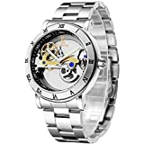 Men's Watches, Mechanical Automatic Self-Winding Waterproof Watch, Luxury See Through Hollow-Out Minimalist Transparent Steampunk Roman Numerals Silver Case Wrist Watch