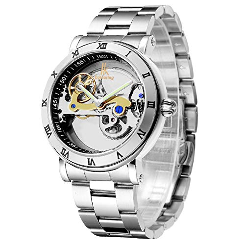 IK See Through Automatic Mechanical Watch for Men Luxury Steampunk Bling Minimalist Silver Bezel Roman Numerals Wristwatch