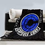 JUST FUNKY Capsule Corp Blanket from Dragon Ball [Black, Blue, White 46'x60'] Dragon Ball Z, Dragon Ball Super Fleece Throw for Bed, Plush DBS/DBZ Comforter for Adults and Kids (Officially Licensed)