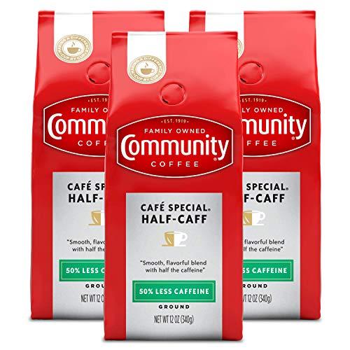 Community Coffee Half-Caff Medium-Dark Roast Ground Coffee, 12 Ounce Bag (Pack of 3)