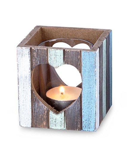 levandeo Windlicht 7,5 x 8 cm Teelichthalter Holz Blau Weiß Herz Maritim Glas Deko Kerzen