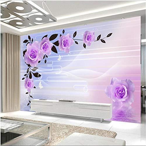 Diaan Aangepaste 3D-behang, modern, lila, rozen, water, studie, kunst, hotel, restaurant, wandschildering, 3D-behang, wooncultuur Afmetingen: 120 x 100 cm.
