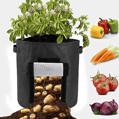 LAMF 3 Pack 15 Gallon Potato Grow Bags Nonwoven Garden Vegetables Planter Bags for Potato Aeration Fabric Pots Growing Box Bucket Pot with Handles and Window for Nursery