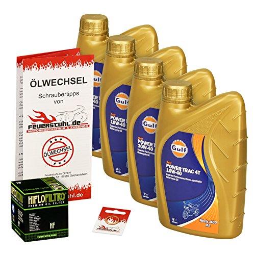 Gulf 10W-40 Öl + HiFlo Ölfilter für Kawasaki ZR 750 Zephyr, ZR750C ZR750D - Ölwechselset inkl. Motoröl, Filter, Dichtring