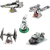 Fascinations Metal Earth 3D Metal Model Kits Star Wars Rise of Skywalker Set of 5 - D-O - First Order Treadspeeder - Sith Tie Fighter - Resistance A-Wing Fighter - Zorii's Y-Wing Fighter