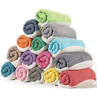 (SET OF 4) - LaModaHome Diamond Weave Turkish Cotton Bath Beach Hammam Towel Peshtemal Blanket, Random Color