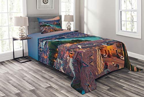 ABAKUHAUS europäisch Tagesdecke Set, Verona Italien Blue Hour, Set mit Kissenbezug Sommerdecke, für Einselbetten 170 x 220 cm, Korallenrot Grün Aqua