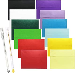 JOLLY SWEETS 60pcs 5x7 Envelopes Set, 12 Rainbow Color A7 Self Adhesive Greeting Card DIY Envelopes, Silver&Gold Colored b...