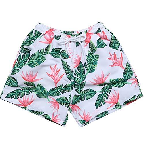 Sunshinetimes Daddy and Me Palm Printing Swim Trunks Matching Swimwear Quick Dry Surfing Beach Shorts Summer Underwear Green