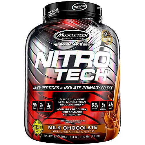 Muscletech Performance Series Nitrotech Whey Protein Peptides & Isolate (30g Protein, 3g Creatine, 6.8 BCAAs, 5g Glutamine & Precursor, Post-Workout) - 4lbs (1.81kg) (Milk Chocolate)