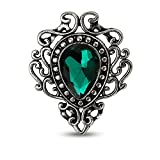 MINGHUA Retro Hollow Flower Waterdrop Gemstone Brooch for Women (Green)