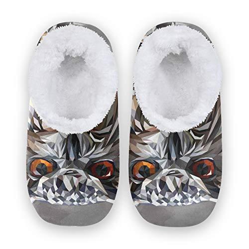 TropicalLife JNlover Animal Owl Print Mujeres Hombres Cerrado Back House Pantuflas Confort Coral Fleece Fuzzy...