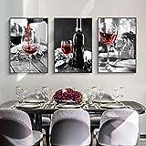 VCFHGVG Bodegón Blanco y Negro Arte Abstracto Botella de Vino Imagen de Pared para el diseño del hogar Pintura de Lienzo nórdico 40x50cmx3 sin Marco