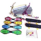 16 Stück Mini Fingerspielzeug Set Professionelle Finger Skateboard Spielzeug Finger Roller Scooter Set für Erwachsene Kinder