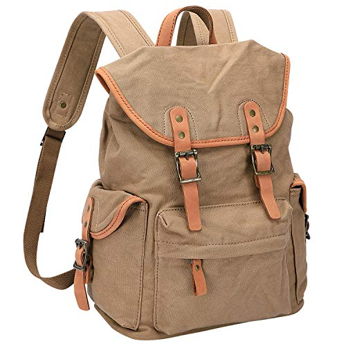 WITZMAN Canvas Backpack For Men Women Leather Trim Casual Daypack Hiking Travel Rucksack (W0104 Khaki)