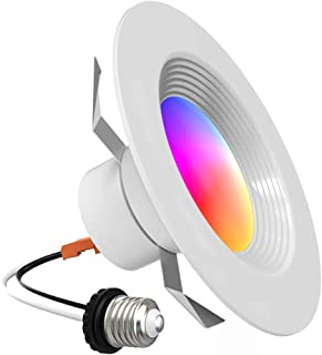 Lumary 5/6 inch Smart Recessed Downlight Wi-Fi RGB Can Lights Music Sync Simple Retrofit Installation Compatible with Alexa Google Assistant 13W 1100LM(5/6 in WiFi- 1 Pack)