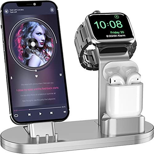 OLEBR 3 in 1 Charging Stand Compatible with iWatch SE/6/5 /4/3 /2/1, AirPods Pro and Phone Series 12/11/ X /8/7 /6S /5(Original Cable Required) Silver