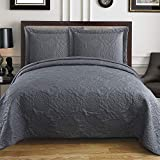 Tagesdecken für Queen-Size-Bett, 269,2 x 254 cm, Tagesdecke & Tagesdecke, Queen-Size-Steppdecke, 3-teiliges Set mit 2 Kissenbezügen (Anthrazitgrau)