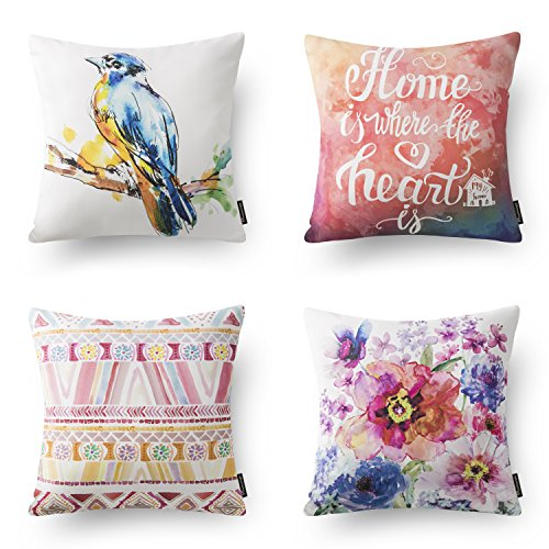 "Phantoscope Set of 4 Decorative Pink Color Animal Bird Flower Throw Pillow Case Cushion Cover 18"" x 18 45cm x 45cm"