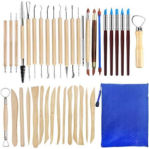 SENHAI 38 Stück Keramikwerkzeuge, Polymer Clay Sculpting Tool Doppelseitige Modellierungswerkzeuge Dotting Art Supplies Set mit Holzgriff für die Keramikmodellierung, Carving, Prägung Skulptur