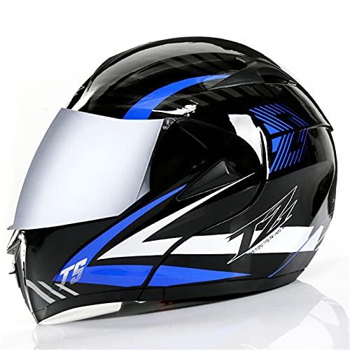 LPOM Casco de moto integral unisex, con certificado DOT/ECE, con doble visera integrada, color azul mate (espejo plateado, XL).