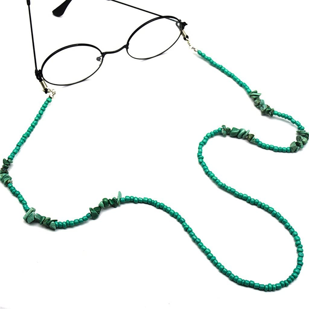 GYZX Bohemia Green Stone Bead Cords Reading Glasses Chain Women Sunglasses Accessories Eyeglasses Lanyard Hold Straps (Color : A, Size : Length-70CM)