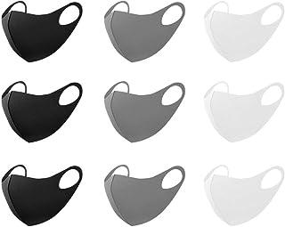 マスク 初秋に最適 洗えるマスク 立体型 ファッションマスク 吸汗速乾 繰り返し使える ホコリ 花粉 紫外線対策 男女兼用 (ブラック&グレー&ホワイト) 9枚セット