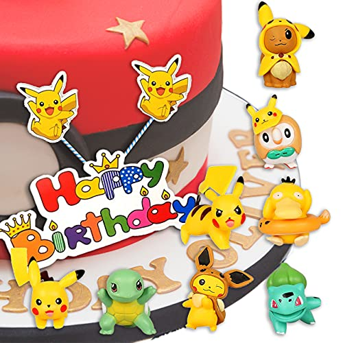 Cupcake Pikachu Figures, Cake Pokemon Topper, Mini Figure Set, Décoration de Gâteau D'anniversaire Bébé Fille Garçon, Ensemble de Journée Des Enfants, Pour Baby Shower, Fête d'anniversaire, 9 pièces