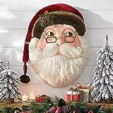 Corona de Navidad para puerta de entrada, Jolly Santa Wreath Pieza de pared de Papá Noel con lazo de cinta y sombrero, Adorno de árbol de Navidad interesante, para Navidad, todos los años (Peso 100 g)