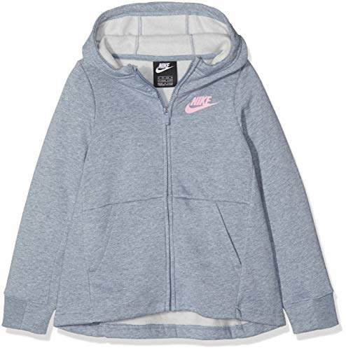 NIKE G NSW Hoodie FZ PE suéter, Gris (Ashen Slate/Htr/Pink 446), 158 (Talla del Fabricante: X-Large) para Niñas