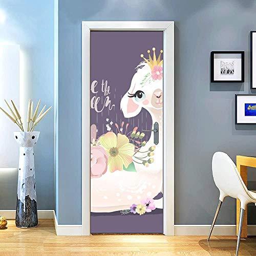 KEXIU 3D Vela flores alpaca PVC fotografía adhesivo vinilo puerta pegatina cocina baño decoración mural 77x200cm