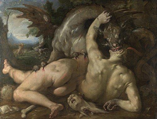 Het Museum Outlet - Cornelis van Haarlem - Twee Volgers van Cadmus verslonden door een Draak, Stretched Canvas Gallery verpakt. 11,7 x 16,5 inch