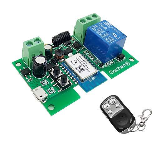 Interruttore WiFi Modulo relè wireless RF 433 MHz, telecomando APP DC 5V/12V, compatibile con Amazon Alexa Google Home, controllo vocale per sistema di controllo accessi, funziona con Smart Life APP