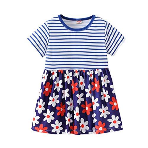 aiyvi Baby Kinder Mädchen Prinzessin Kleider Streifen Cartoon Blumendruck Party (2-3 Jahre, Rot)