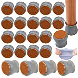 Funda para patas de silla,24 piezas de silicona antideslizante para patas redondas con almohadillas de fieltro EVA,evita arañazos y ruidos,ajuste para patas de silla de 3 cm a 4,5 cm (gris)