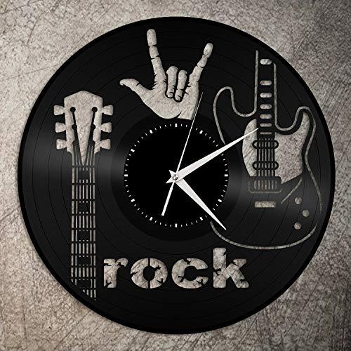 XDG Rock Sign of The Horns Reloj de Pared de Vinilo Amigos Decoración de la habitación Diseño Vintage Oficina Bar Habitación Decoración del hogar