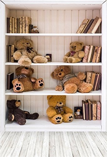 AOFOTO 3x5ft Bookcase and Toy Bears Background Bookshelf Photography Backdrop Kid Baby Child Infant Boy Girl Portrait Photoshoot Studio Props Video Drape Seamless Wallpaper