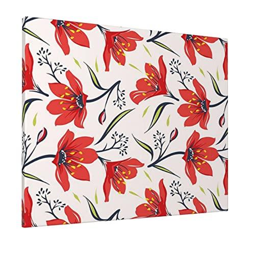 M-shop Pittura 40,6 x 50,8 cm floreale disegnato a mano vintage fiorente tulipano fiori natura giardino tema modello pesca verde e rosso panoramica tela arte della parete