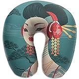 Almohadas para Cuello,Moda Mujer Estilo Japonés Amor Música Almohada De Viaje En Forma De U Diseño Ergonómico Contorneado Cubierta Lavable para Avión Tren Coche Autobús Oficina