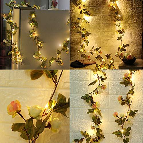 Lichterkette, Wankd 2.2M 25 Led Grünes Blatt Blume Licht Lichterkette LED Licht Hochzeit Party Weihnachten Halloween Innen/Außen Haus Deko String Lights
