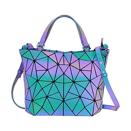 Segorts Geometrischer Rucksack Leuchtend Damen Schultaschen Handtasche Holographisch Tasche Reflektierend Rucksäcke Daypack Schulrucksäcke Tasche Schulranzen Geschenk für Frauen Uni Reisen Freizeit
