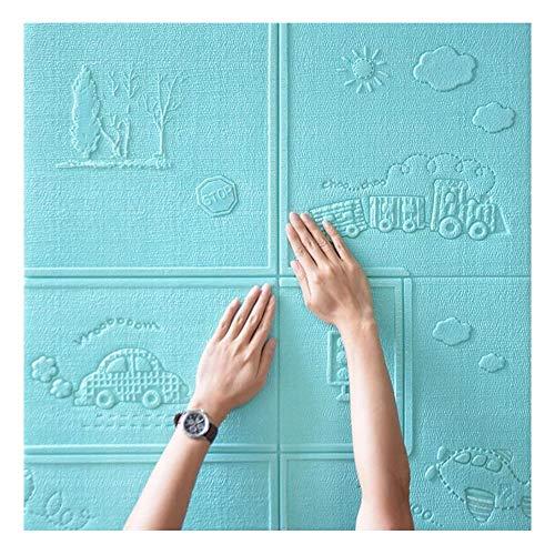 ZHANWEI 3D Stickers Muraux Papier Peints Auto-Adhésif Jardin d'enfants Dessin animé Mousse Étui Souple Collision Autocollants, 6 Couleurs 70x70cm (Couleur : Bleu, Taille : 5 PCS)